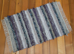 "28"" x 50"" Grey & Purple U.S. HAND WOVEN Textured Medium Area Rag Rug"