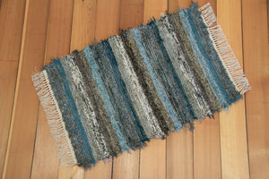 "24"" x 36"" Teal & Chocolate U.S. HAND WOVEN Small Area Rag Rug"