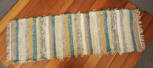 "24"" x 74"" Country Blue U.S. HAND WOVEN Textured Runner Rag Rug"