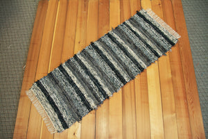 "24"" x 66"" Black & Gray U.S. HAND WOVEN Textured Runner Rag Rug"