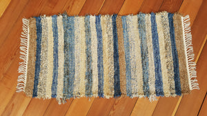 "24"" x 47"" County Blue, Gold & Honey U. S. HAND WOVEN Small Area Rag Rug"