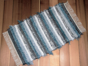 "24"" x 43"" Gray, Blue Aqua, Silver & White U.S. HAND WOVEN Small Area Rag Rug"