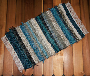 "Kitchen, Bathroom, Bedroom or Door Entry Rug - 24"" x 38"" Teal, Chocolate & Tan"