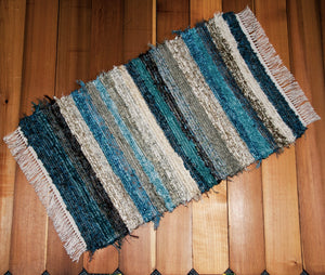"Kitchen, Bathroom, Bedroom or Door Entry Rug - 24"" x 36"" Teal, Chocolate & Tan"