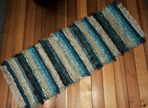 "24"" x 65"" Teal, Chocolate & Tan U.S. HAND WOVEN Textured Runner Rag Rug"