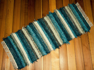 "24"" x 61"" Teal, Chocolate & Tan U.S. HAND WOVEN Textured Runner Rag Rug"