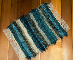 "Bathroom or Kitchen Rug - 20"" x 24"" Teal & Chocolate"