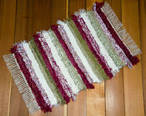 "20"" x 30"" Deep Pink, Celery and Cream U.S. HAND WOVEN Small Area Rag Rug"