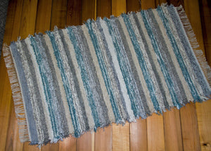 "Entry Way, Bedroom, Nursery or Dorm Room Rug - 36"" x 62"" Aqua, Gray & Oatmeal"