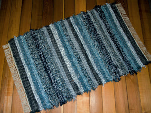 "Entry Way, Bedroom, Nursery or Dorm Room Rug - 36"" x 56"" Gray, Navy & Blue"