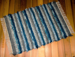 "36"" x 54"" Gray & Deep Blue U.S. HAND WOVEN Textured Throw Rag Rug"