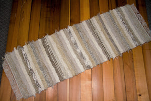 "24"" x 74"" Taupe, Cream & Light Honey U.S. HAND WOVEN Textured Runner Rag Rug"