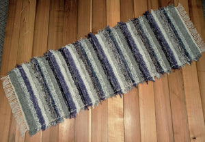 "24"" x 67"" Gray, Purple & Oatmeal U.S. HAND WOVEN Textured Runner Rag Rug"