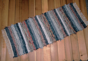 "24"" x 60"" Gray, Burnt Orange & Silver U.S. HAND WOVEN Textured Runner Rag Rug"