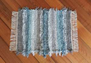 "Bathroom or Kitchen Rug - 20"" x 25"" Blue Aqua, Gray & Silver"