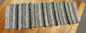"24"" x 66"" Black, Tan, Gray & Brown U. S. HAND WOVEN Textured Runner Rag Rug"