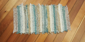 "20"" x 36"" Aqua, Honey & Ivory U. S. Hand Woven Small Area Rag Rug"