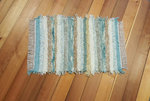 "24"" x 36"" Aqua, Honey & Ivory U. S. HAND WOVEN Small Area Rag Rug"
