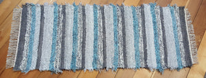 "Kitchen or Hallway Runner Rug - 24"" x 60"" Blue Aqua, Gray & Silver"