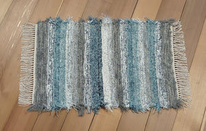 "Kitchen, Bathroom or Door Entry Rug - 20"" x 30"" Blue Aqua, Gray & Silver"