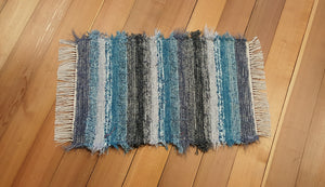 "20"" x 30"" Teal, Gray, Charcoal & Silver U. S. HAND WOVEN Small Area Rag Rug"