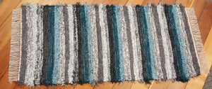 "28"" x 60"" Teal, Gray, Charcoal & Silver U. S. HAND WOVEN Textured Runner Rag Rug"
