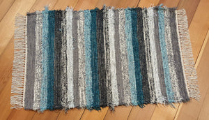 "28"" x 48"" Teal, Gray, Charcoal & Silver U. S. HAND WOVEN Textured Medium Area Rag Rug"