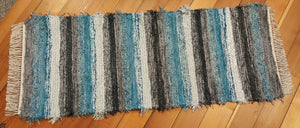 "24"" x 60"" Teal, Gray, Charcoal and Silver U. S. HAND WOVEN Textured Runner Rag Rug"
