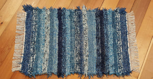 "24"" x 43"" Navy & Country Blue U. S. Hand Woven Small Area Rag Rug"