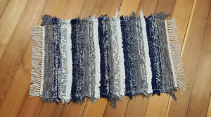 "24"" x 37"" Navy, Gray & White U. S. HAND WOVEN  Small Area Rag Rug"