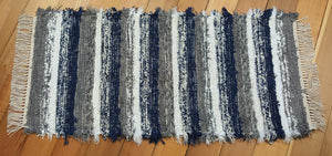 "24"" x 50"" Navy, Gray & White U. S. HAND WOVEN Small Area Rag Rug"