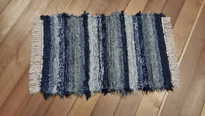 "Kitchen, Bathroom, Bedroom or Door Entry Rug - 24"" x 37"" Navy, Gray & Silver"