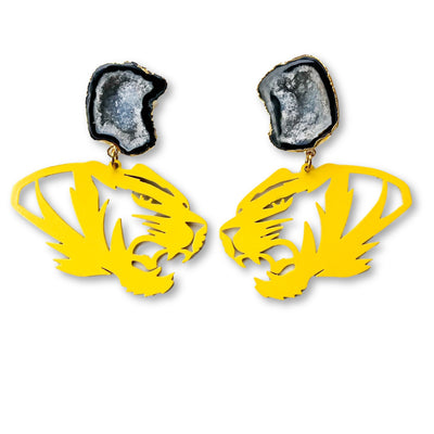 Mizzou Yellow Tiger Earrings with Black Geode