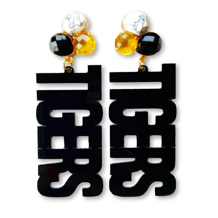 "Mizzou Black ""TIGERS"" Earrings with 3 Gemstones"