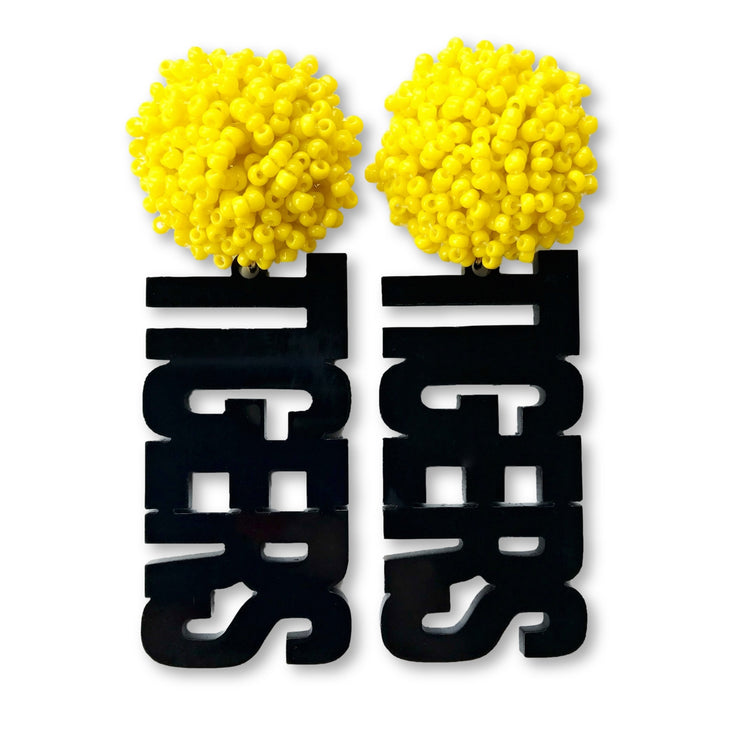 "Mizzou Black Acrylic ""TIGERS"" Earrings with Yellow Beaded Top"