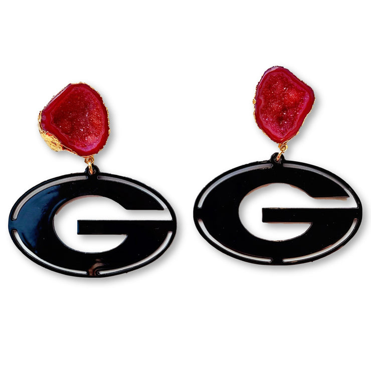 Georgia Black Power G Earrings with Red Geode