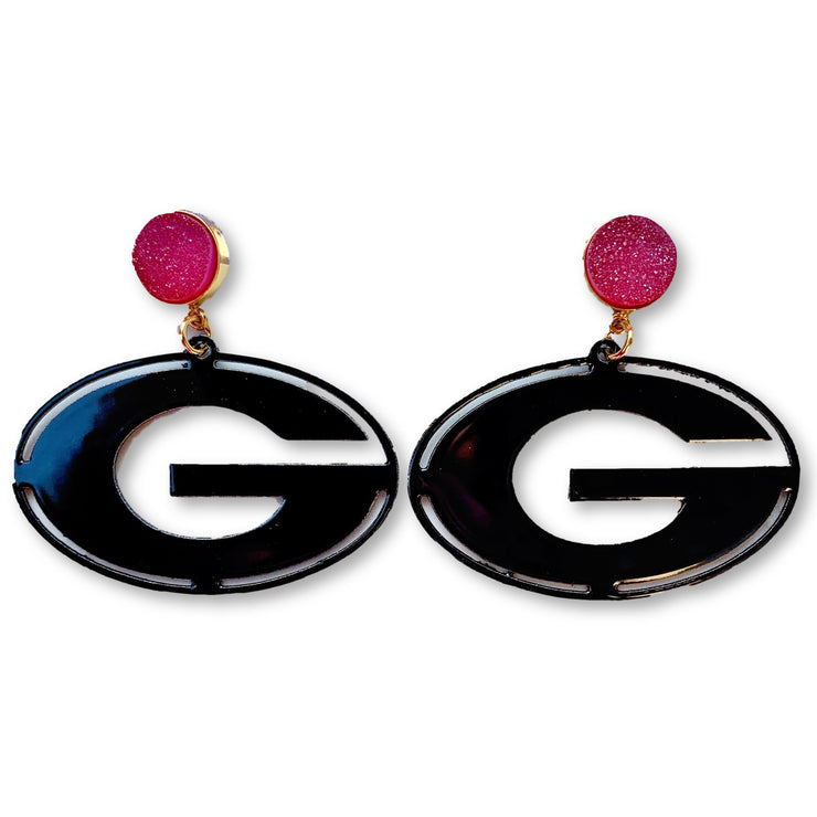 Georgia Black Power G Earrings with Red Druzy