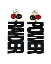 "Texas Tech Black ""RAIDER POWER"" Earrings with 3 Gemstones"