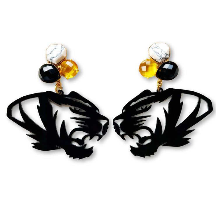 Mizzou Black Tiger Earrings with 3 Gemstones