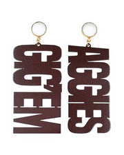 Texas A&M GIG'EM AGGIES Earrings with White Agate