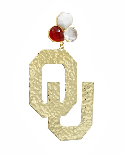 OU Gold Logo Earrings with 3 Gemstones