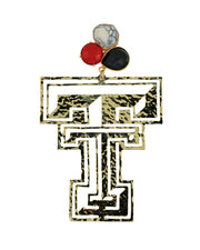 Texas Tech Gold Logo Earrings with 3 Gemstones