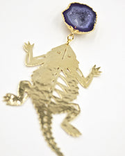 TCU Gold Horned Frog Earrings with Purple Geode
