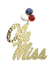 Ole Miss Gold Script Earrings with 3 Gemstones