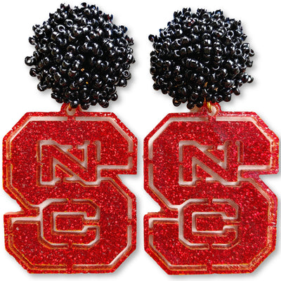 NC State Red Glitter Logo with Black Beads