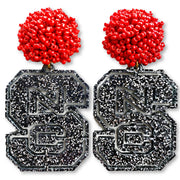 NC State Black and Silver Glitter Logo with Red Beads