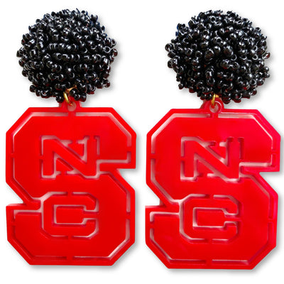 NC State Red Logo with Black Beads