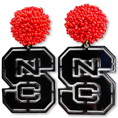 NC State Black Logo with Red Beads