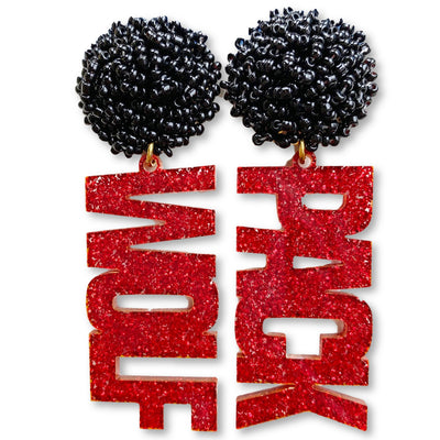 "NC State Red Glitter ""Wolf Pack"" with Black Beads"