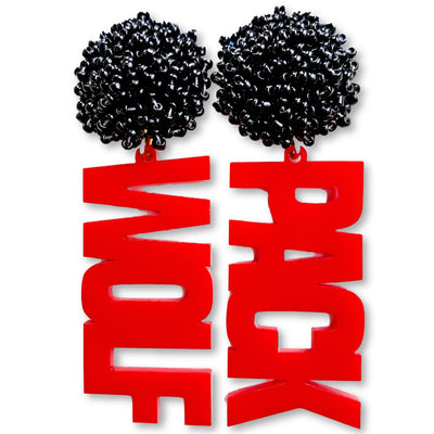 "NC State Red ""Wolf Pack"" with Black Beads"